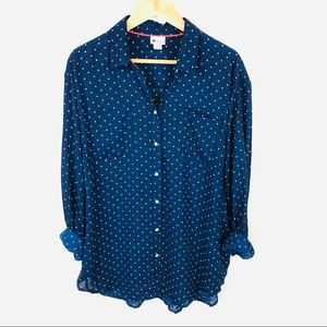 Navy blue polka dot button down oversized shirt